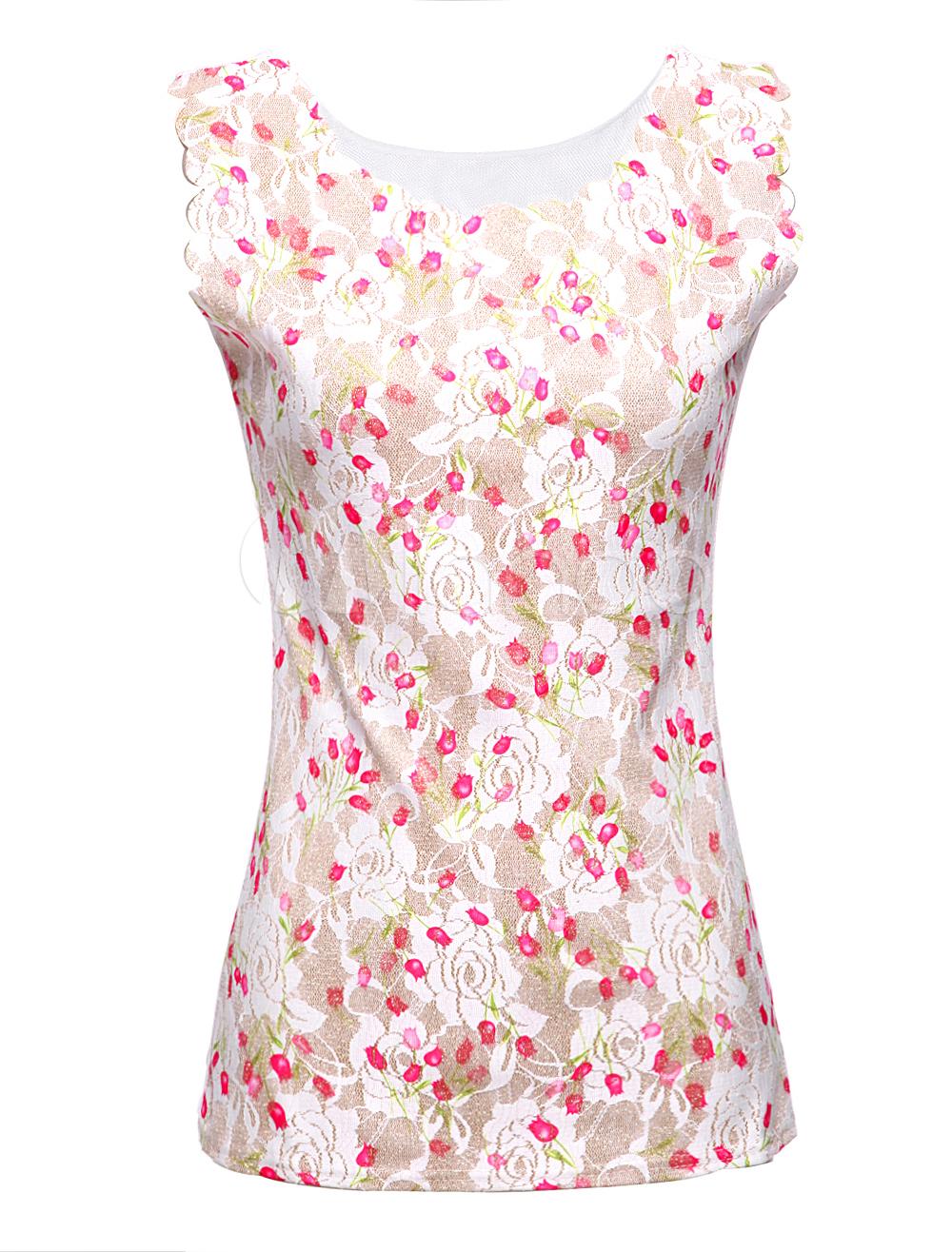 t-shirt femme en polyester multicolore imprimé fleuri rouge sans