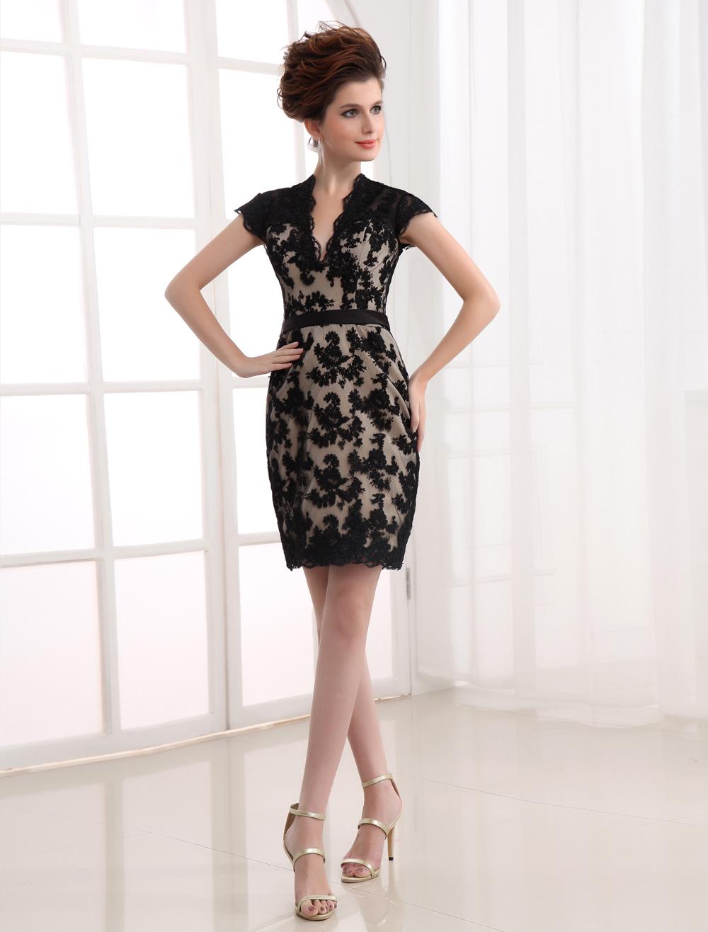 Satin V-neck Cocktail Dress - Milanoo.com