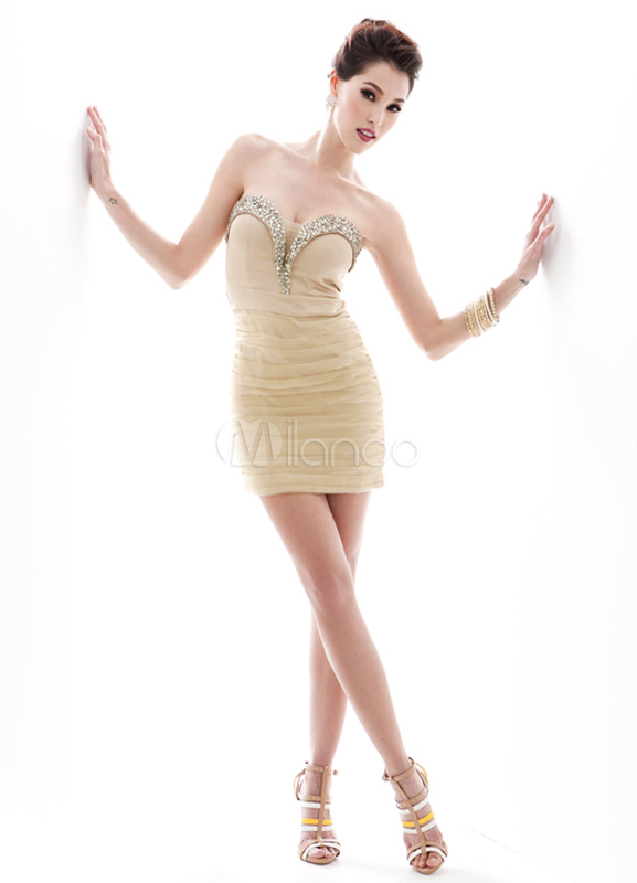 Buy Sheath Ivory Organza Beading Knee-Length Cocktail Dress for $102.59 in Milanoo store