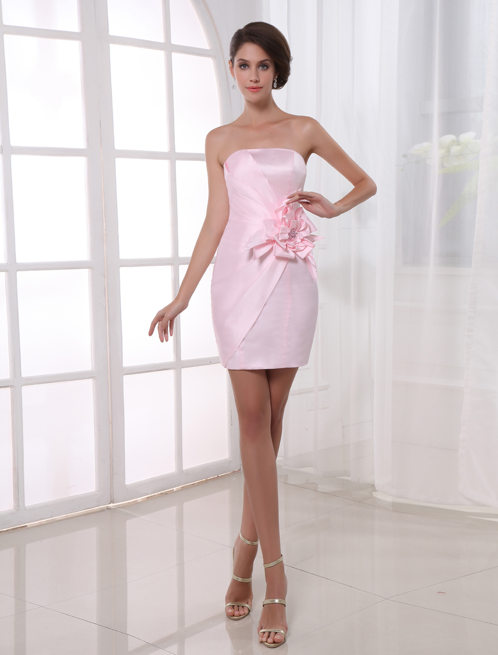 Sheath Pink Satin Floral Strapless Short Cocktail Dress For Women ...