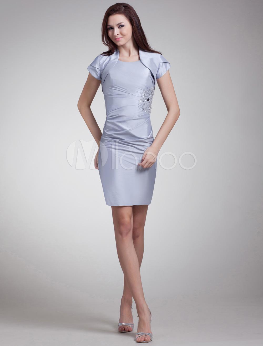 Silver Beading Scoop Neck Taffeta Short Cocktail Dress For Women ...