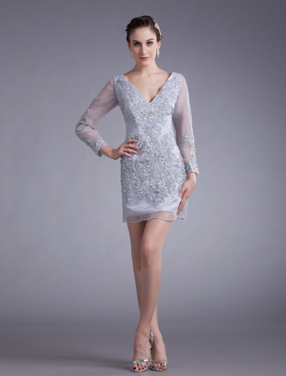 Silver Sequin V-Neck Organza Short Fashion Cocktail Dress