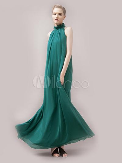 25b8593394b5 Abito lungo verde elegante aderente con collo dritto smanicato a pieghe di  poliestere per le feste ...