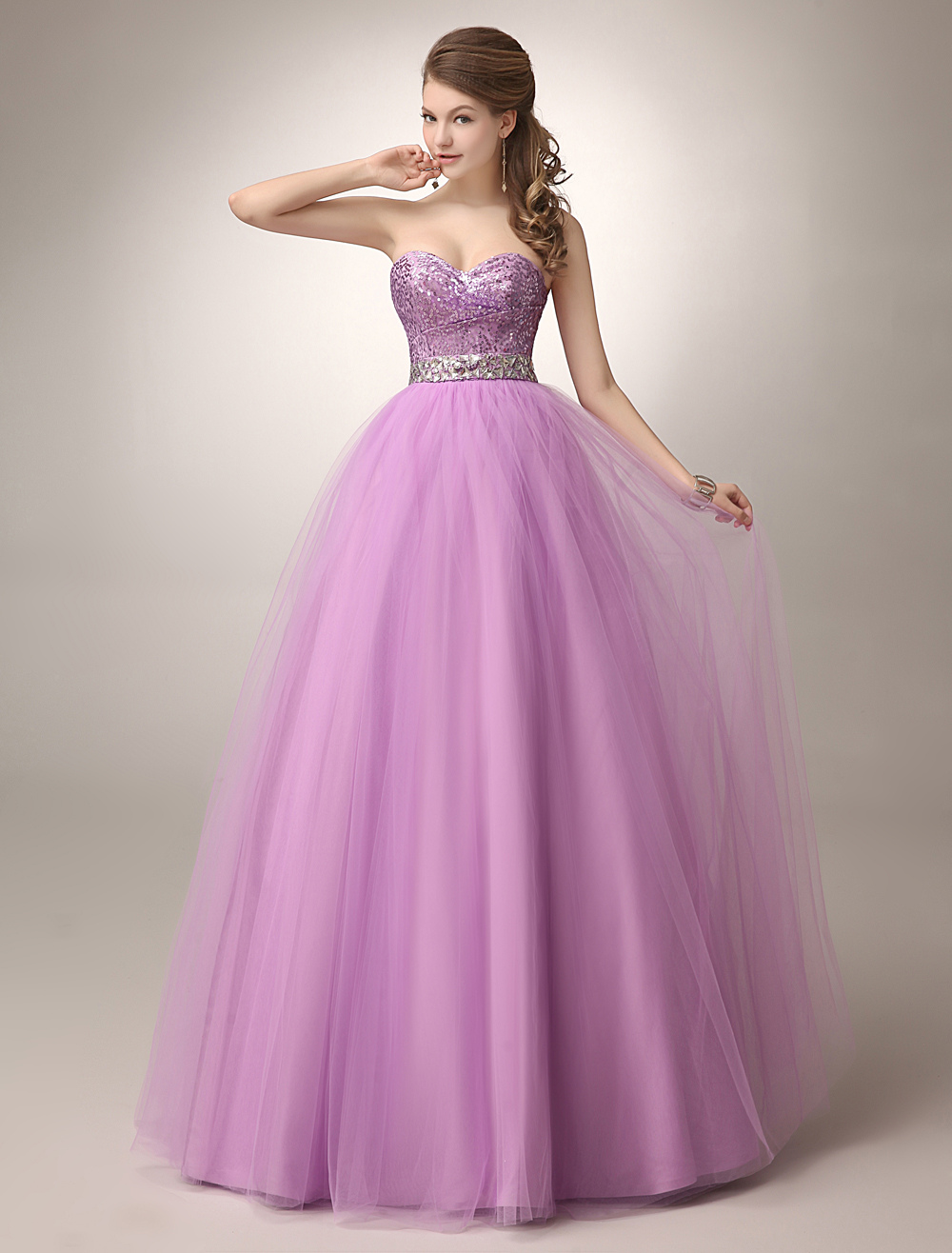 Fuchsia Pink Prom Dress Sequin Tulle Ball Gown Sweetheart Beaded ...