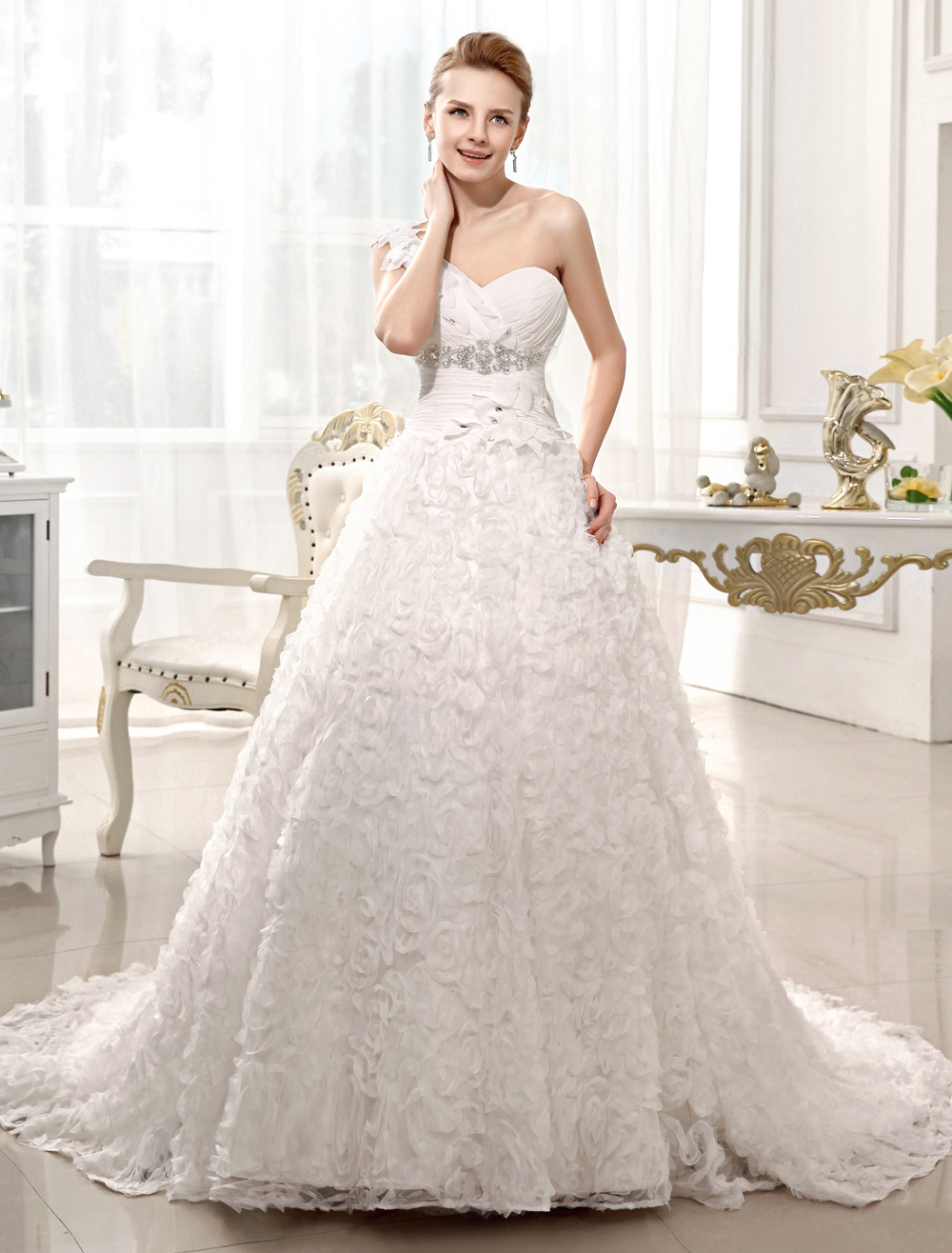 A-line Chapel Train Ivory Rhinestone Bridal Wedding Dress with One-Shoulder  Milanoo