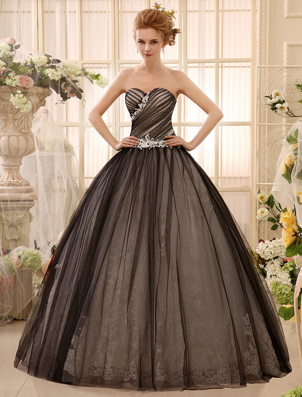 Black Wedding Dress Beading Ball Gown Floor-Length with Sweetheart ...