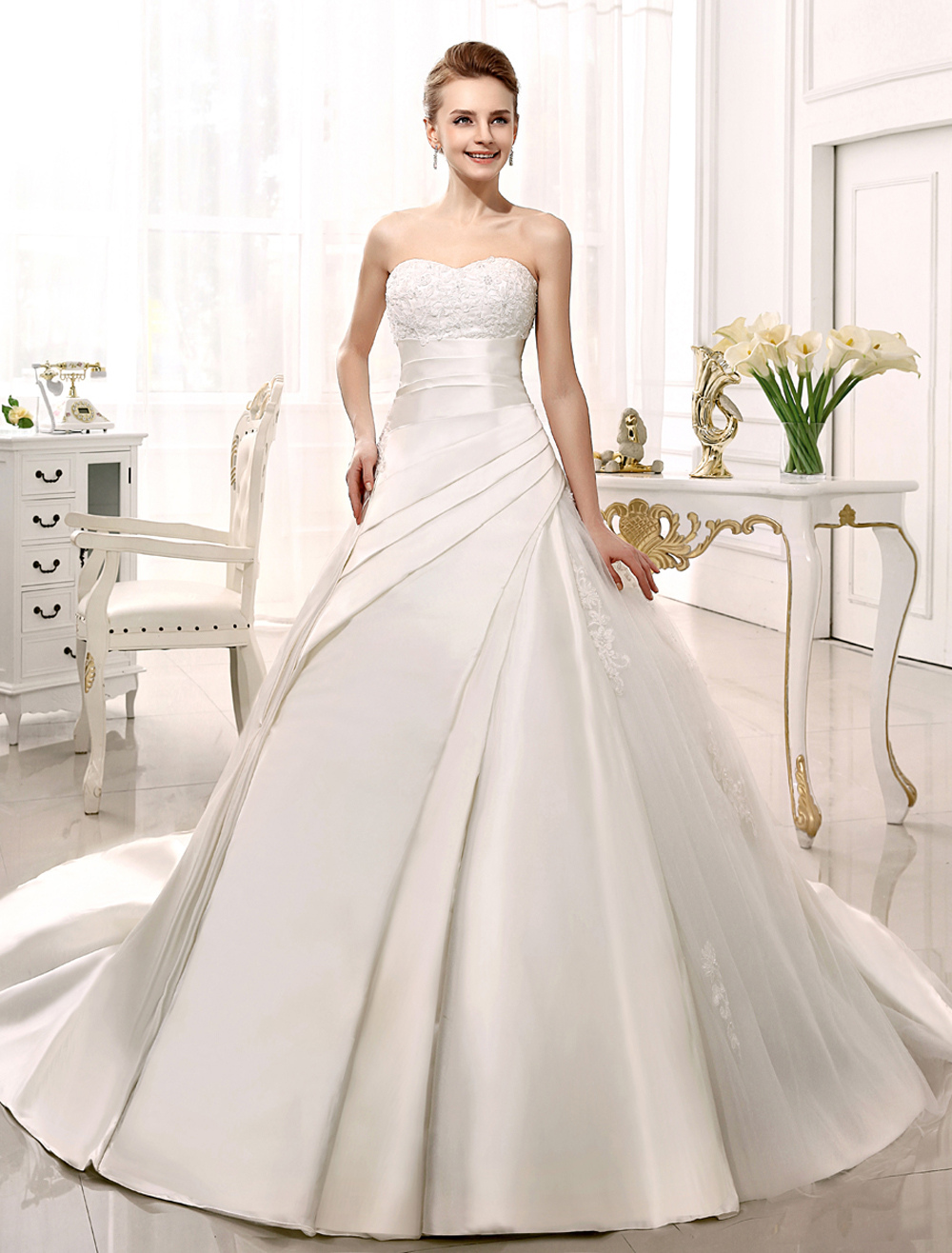 Ivory Backless Strapless Lace Satin Bridal Wedding Gown Milanoo