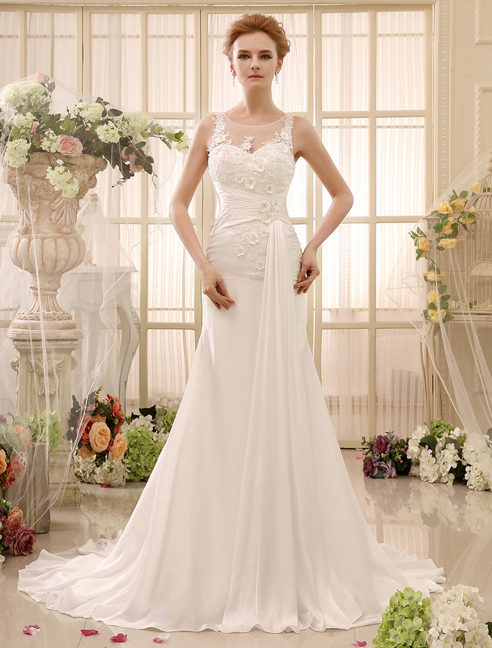 Chapel Train Beading Ivory Mermaid Bridal Wedding Gown with Jewel Neck Spaghetti Strap  Milanoo