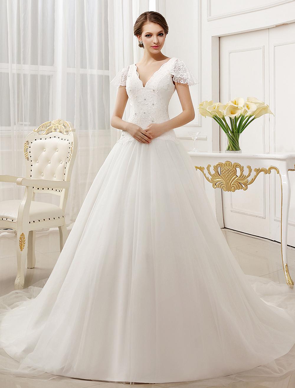A-line Beading Chapel Train Ivory Brides Wedding Dress with V-Neck Milanoo