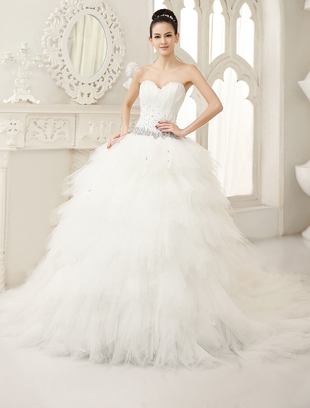 Buy Ivory A-line Sweetheart Neck Tiered Cathedral Train Wedding Dress For Bride Milanoo for $299.99 in Milanoo store