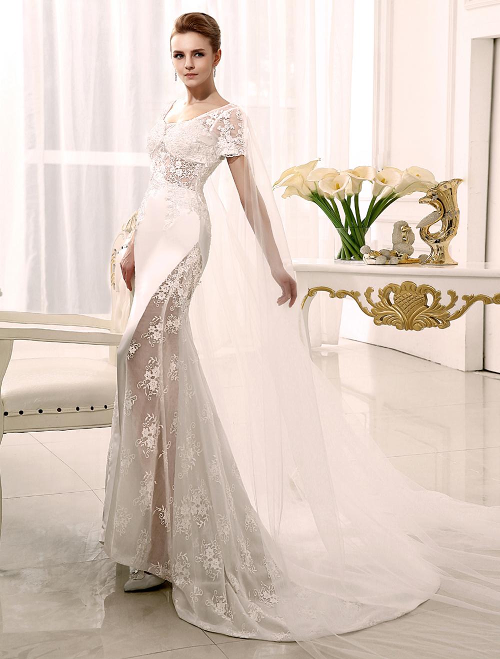 Boho Wedding Dress Mermaid Watteau Train Ivory Applique Bridal Wedding Dress With Scoop Neck Milanoo