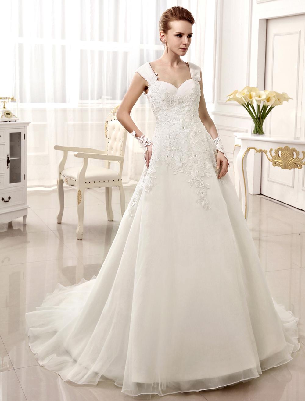 A-line Chapel Train Applique Ivory Brides Wedding Dress with Sweetheart Neck Spaghetti Strap  Milanoo