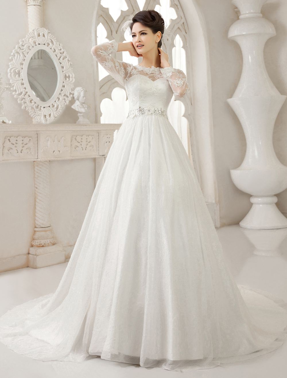 Ivory A-line Jewel Neck Lace Sweep Bride's Wedding Dress  Milanoo