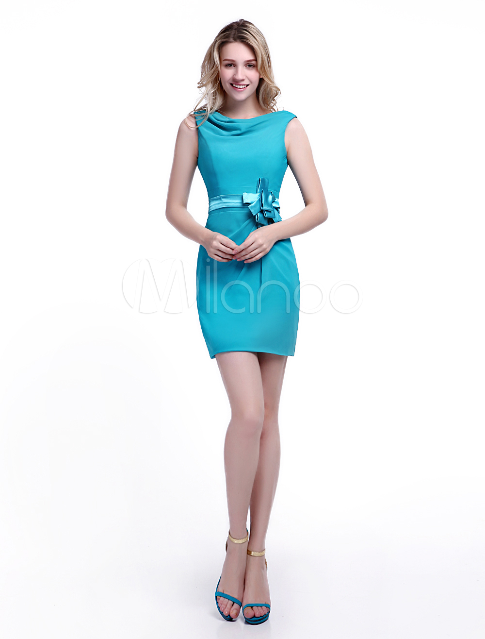 Buy Turquoise Bridesmaid Dress Satin Bow Sash Cocktail Dress Cowl Neck Sleeveless Sheath Short Party Dress Wedding Guest Dress Milanoo for $99.99 in Milanoo store