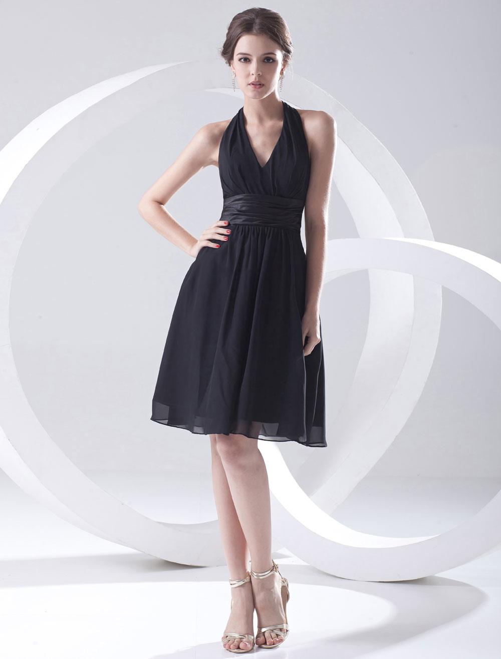 Black Cocktail Dress Knee-Length Halter Straps Sash Chiffon Dress ...