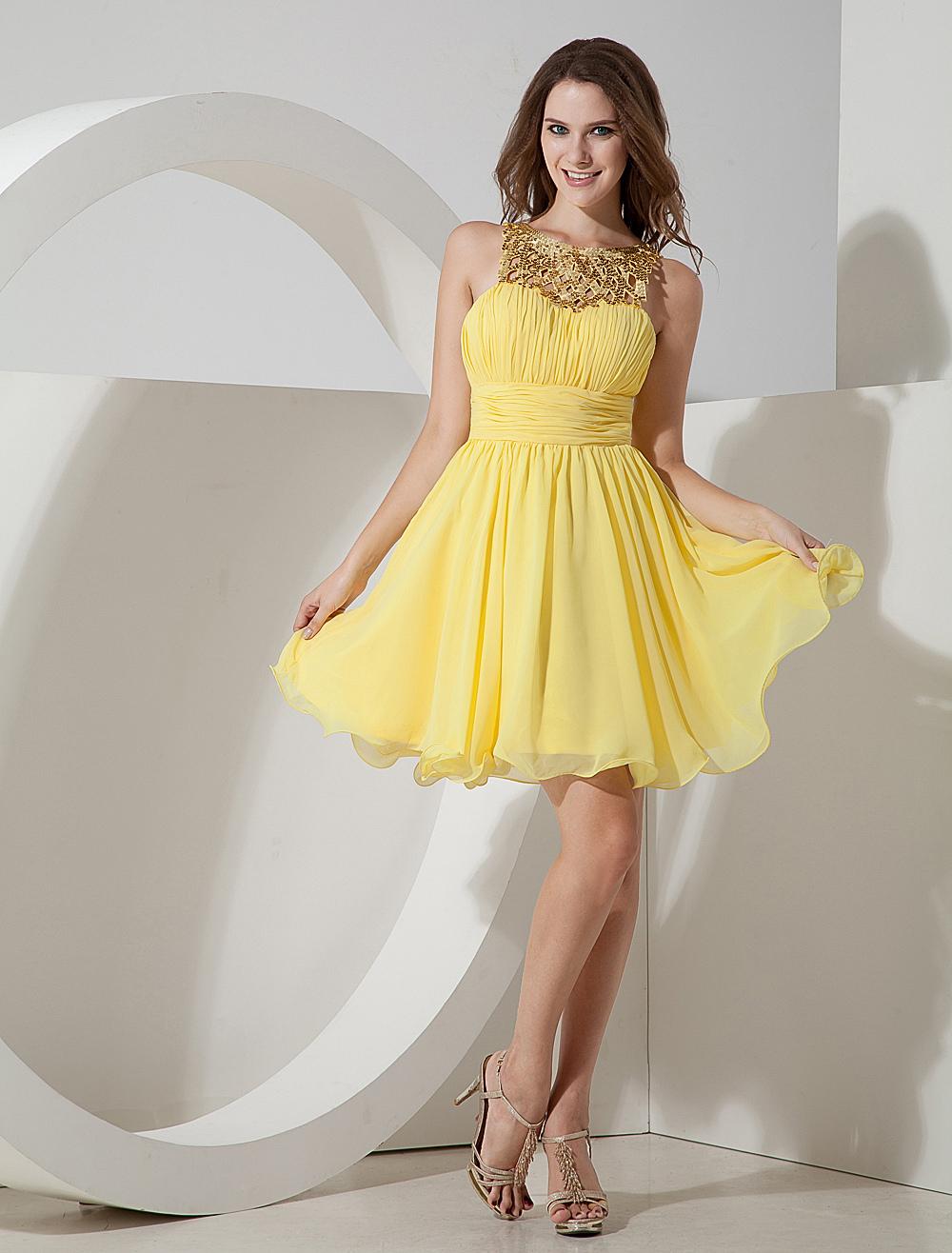 Daffodil Chiffon Sequin Sleeveless Homecoming Dress