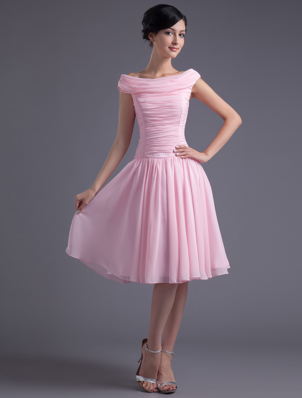 Pink Off-The-Shoulder Chiffon Homecoming Dress