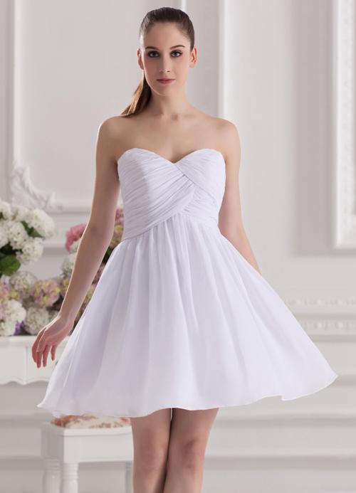 A-line White Chiffon Sweetheart Neck Short Wedding Bridesmaid Dress ...