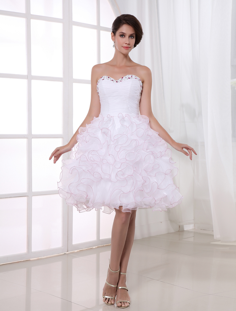 A-line White Organza Ruffles Knee-Length Women's Prom Dress