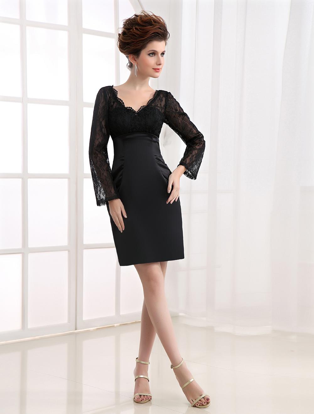 Black Long Sleeves Lace V-Neck Sheath Satin Cocktail Dress - Milanoo.com