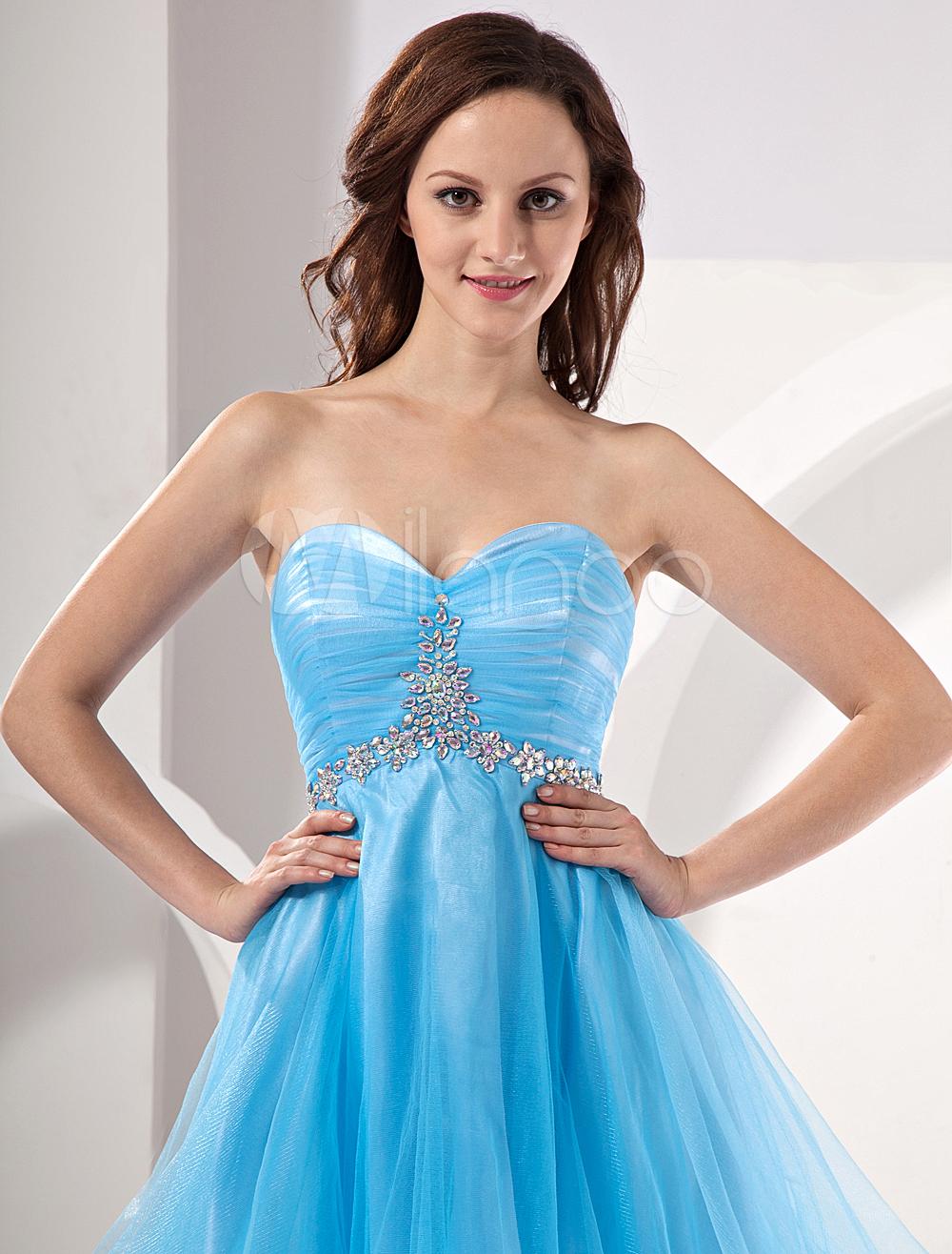 Blue Strapless Mini Homecoming Dress With Rhinestone Waist