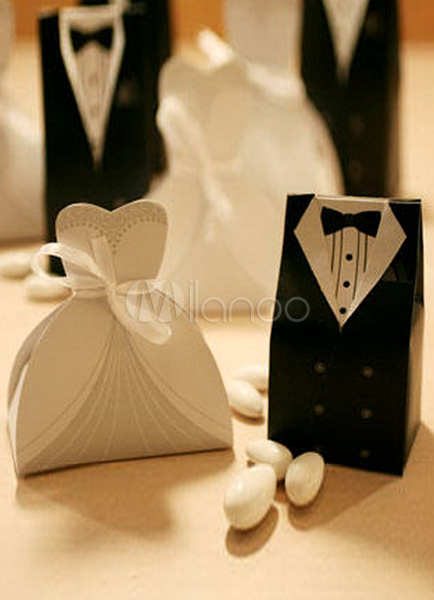 Bride&Groom Wedding Favors Boxes Set of 12