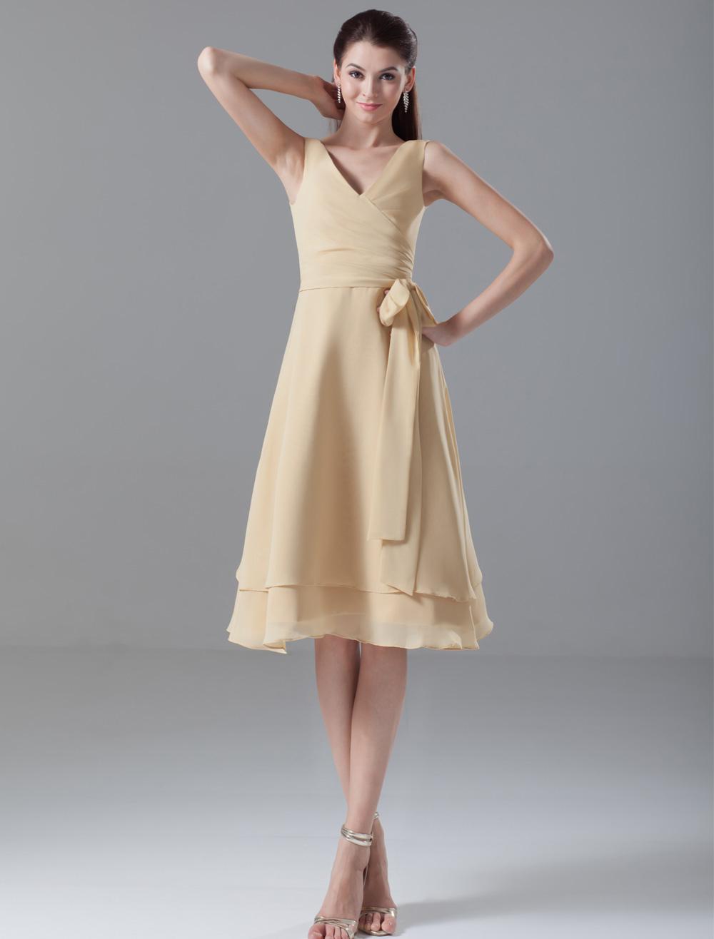 Champagne A-line Sash V-Neck Sleeveless Chiffon Elegant Cocktail Dress
