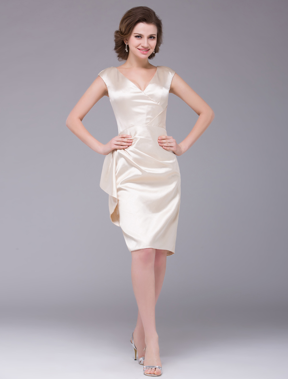 Champagne Knee Length V-Neck Satin Mother of the Bride Dress Wedding Guest Dress