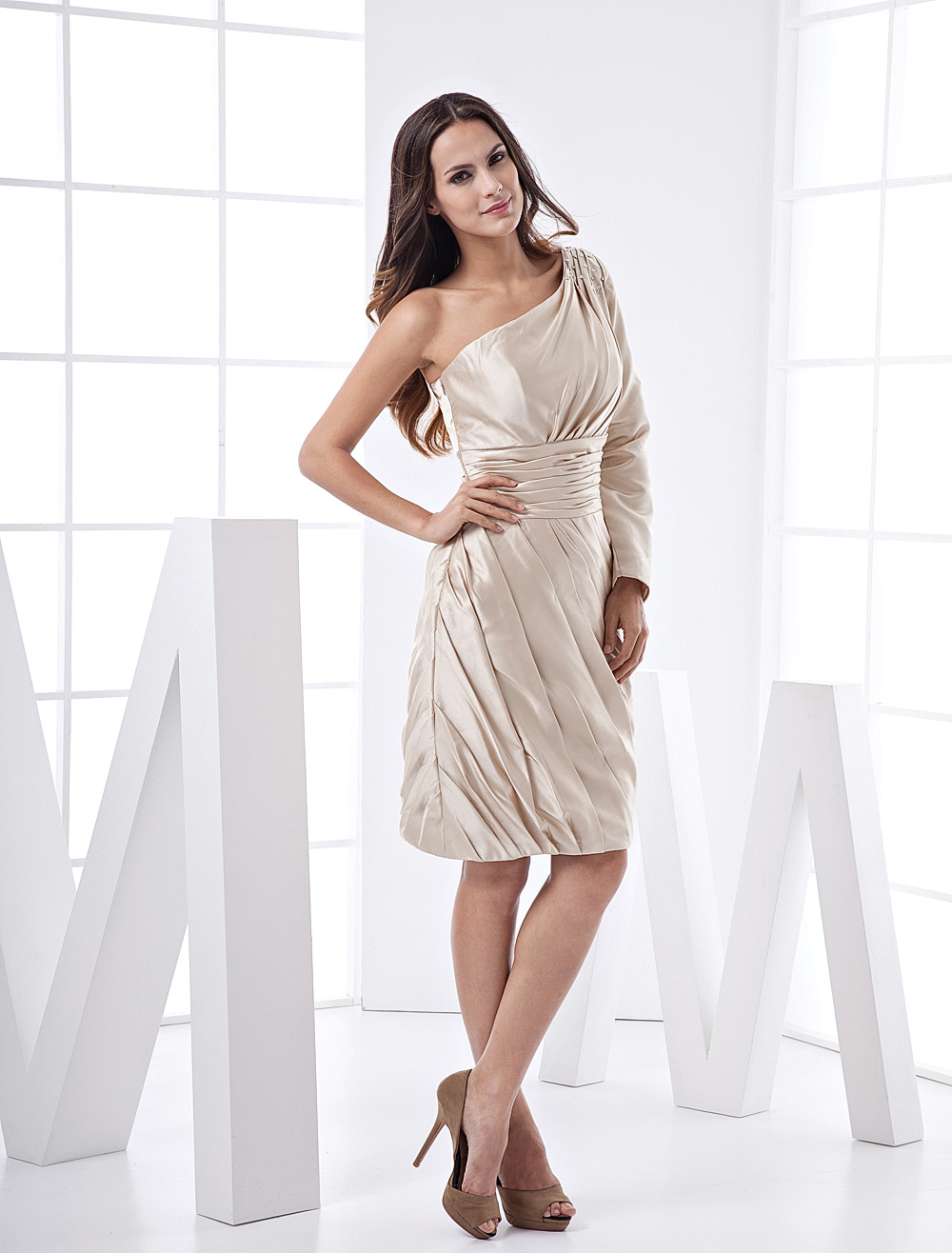 Champagne One-Shoulder Knee Length Satin Bridesmaid Dresses