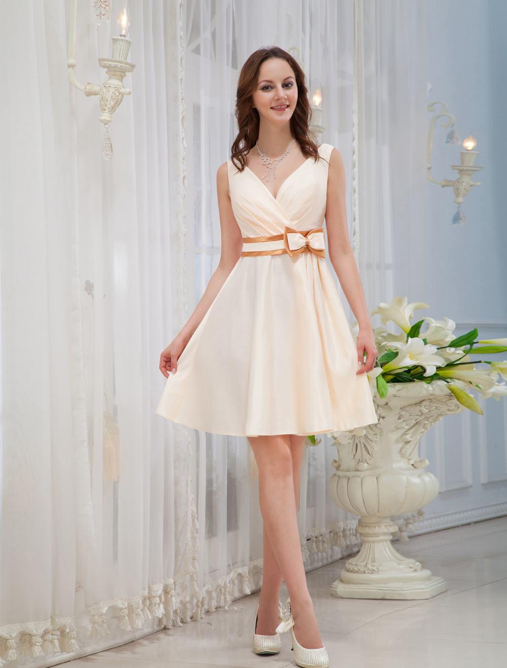 Champagne Prom Dress Sash Bows Satin Dress