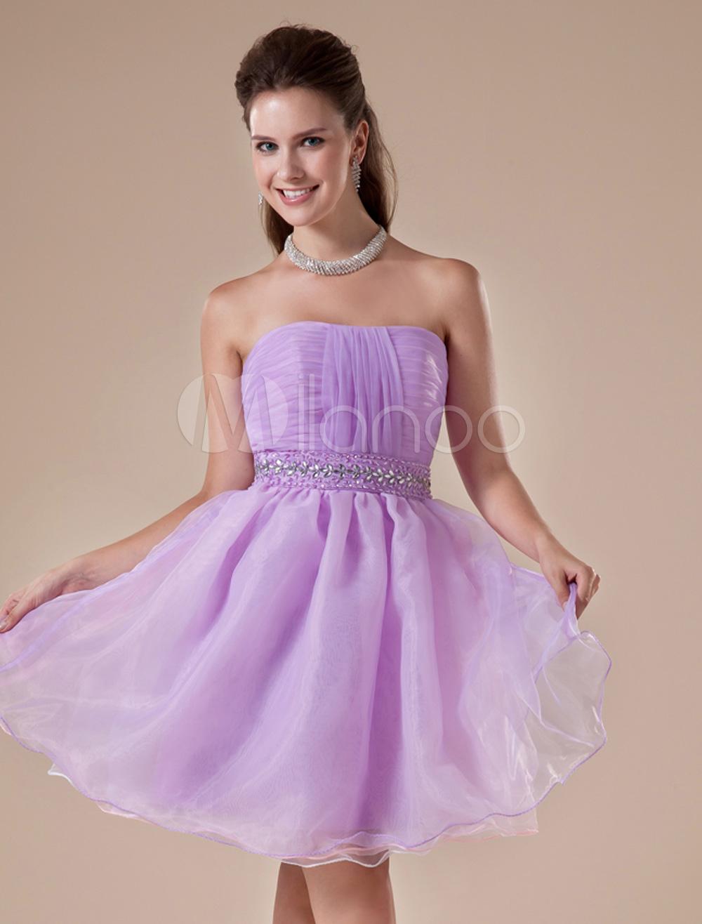 Mini vestido para homecoming de tul de color lavanda sin tirantes de ...