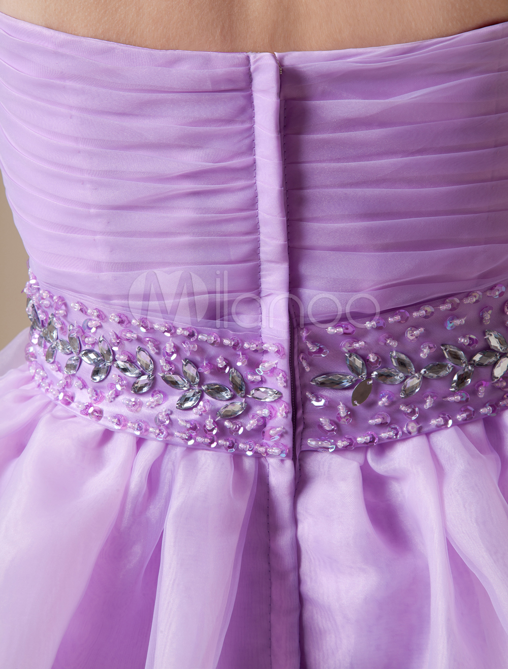 Short Lilac Strapless Homecoming Dress With Tulle Skirt