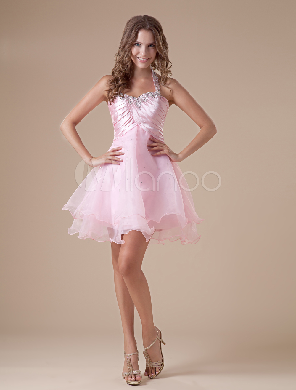 Elegant Short Pink Halter Tulle Womens Homecoming Dress