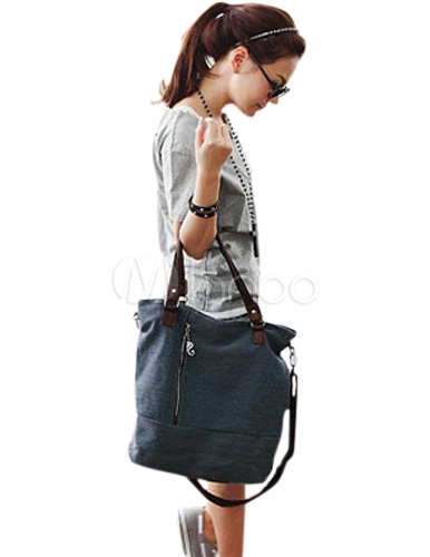 Fabulous Vertical Shape Zipper Canvas Women s Tote Bag - Milanoo.com a1651955d