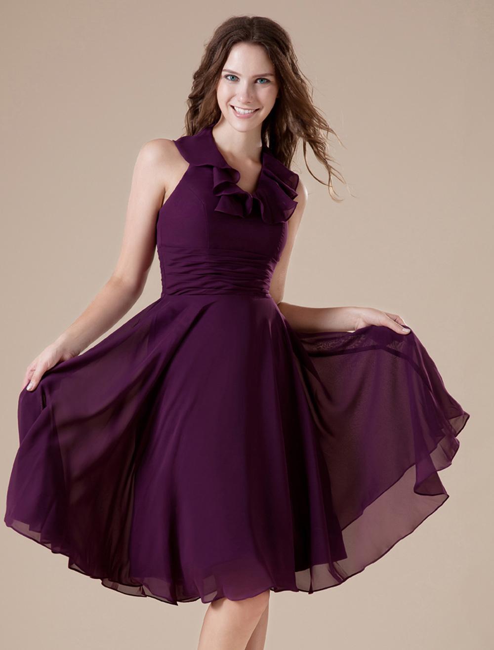 Feminine Purple V Neckline Chiffon A Line Womens