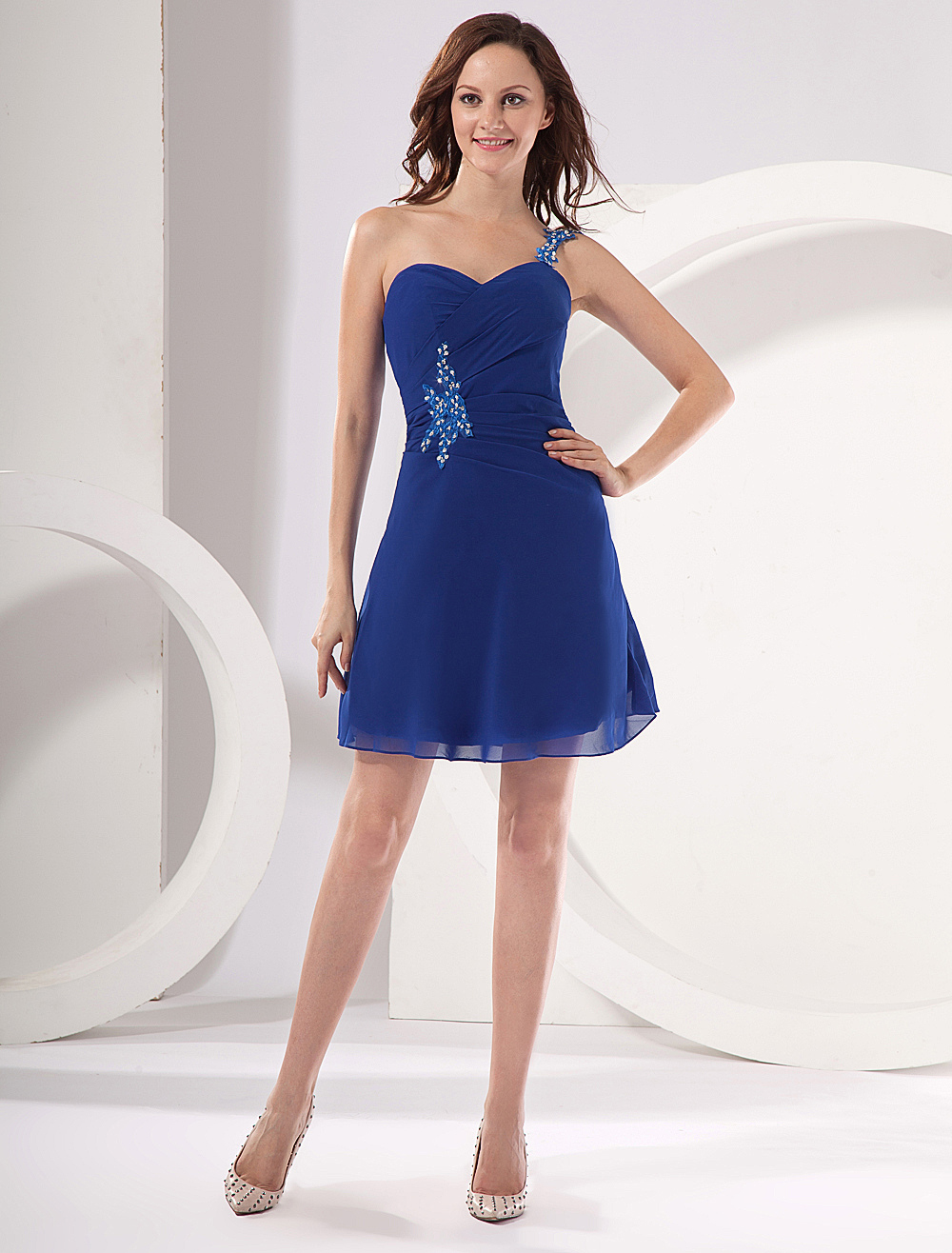 best service dd0a3 5c288 Abito homecoming blu royal elegante in chiffon floreale corto