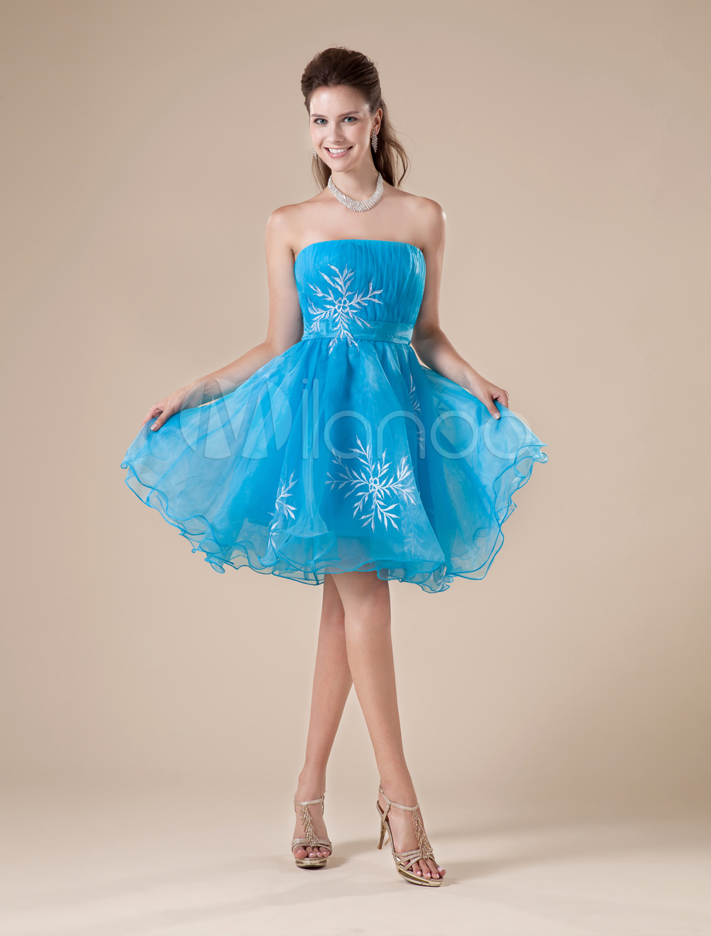 Short Blue Strapless Homecoming Dress with Tulle Skirt - Milanoo.com