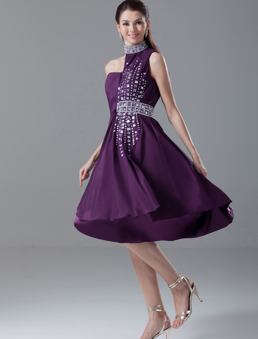 Lavender A-line Sequin Halter Sleeveless Chiffon Glamour Cocktail ...