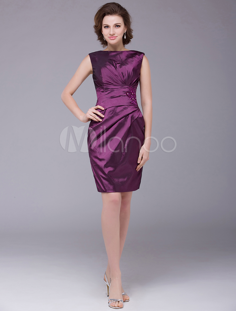 Buy Grape Sheath Bateau Neck Pleated Taffeta Mother of the Bride Dress with Off-The-Shoulder Short Sleeves Wedding Guest Dress for $100.79 in Milanoo store