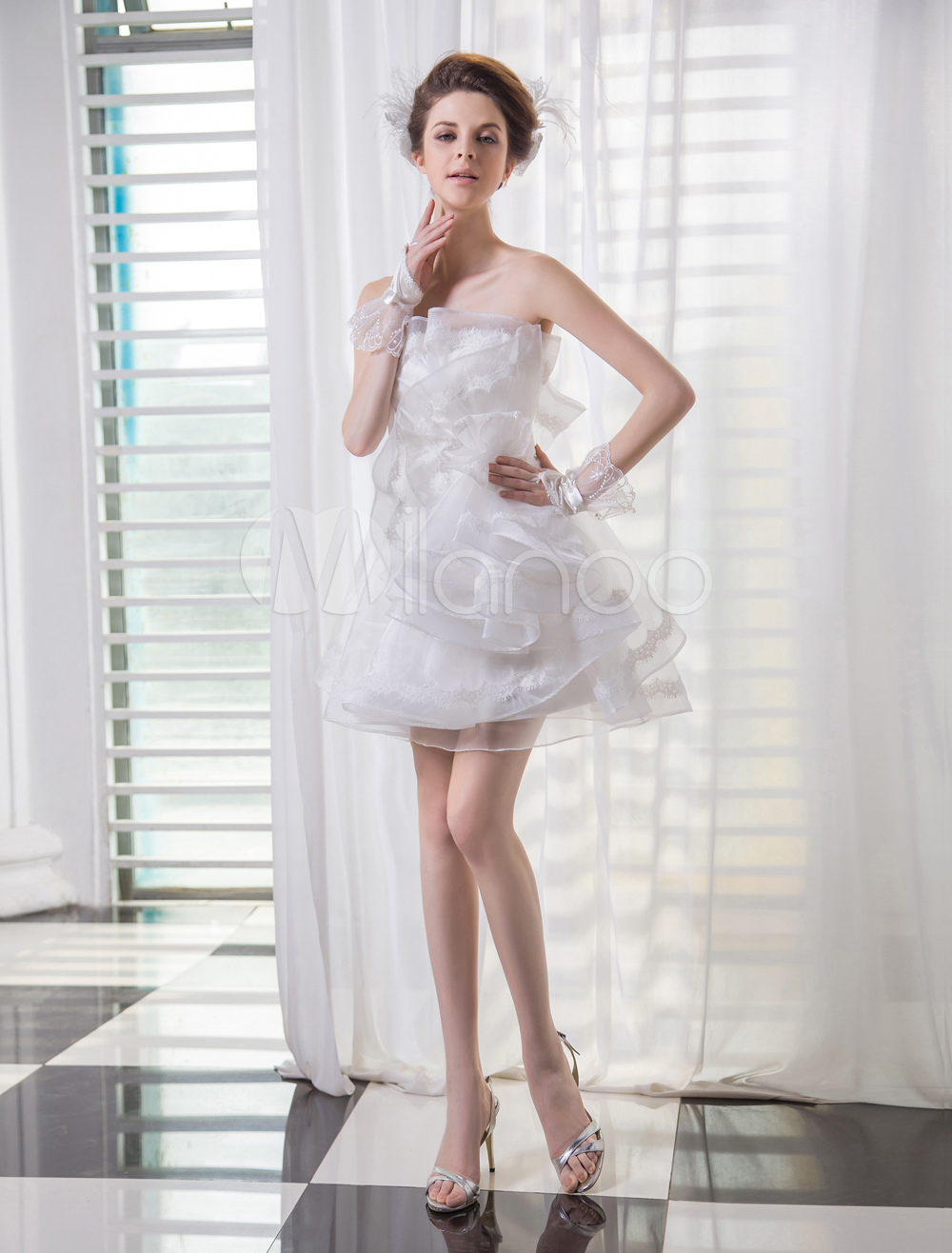 Ivory A-line Strapless Ruffles Short Beach Wedding Gown  Milanoo