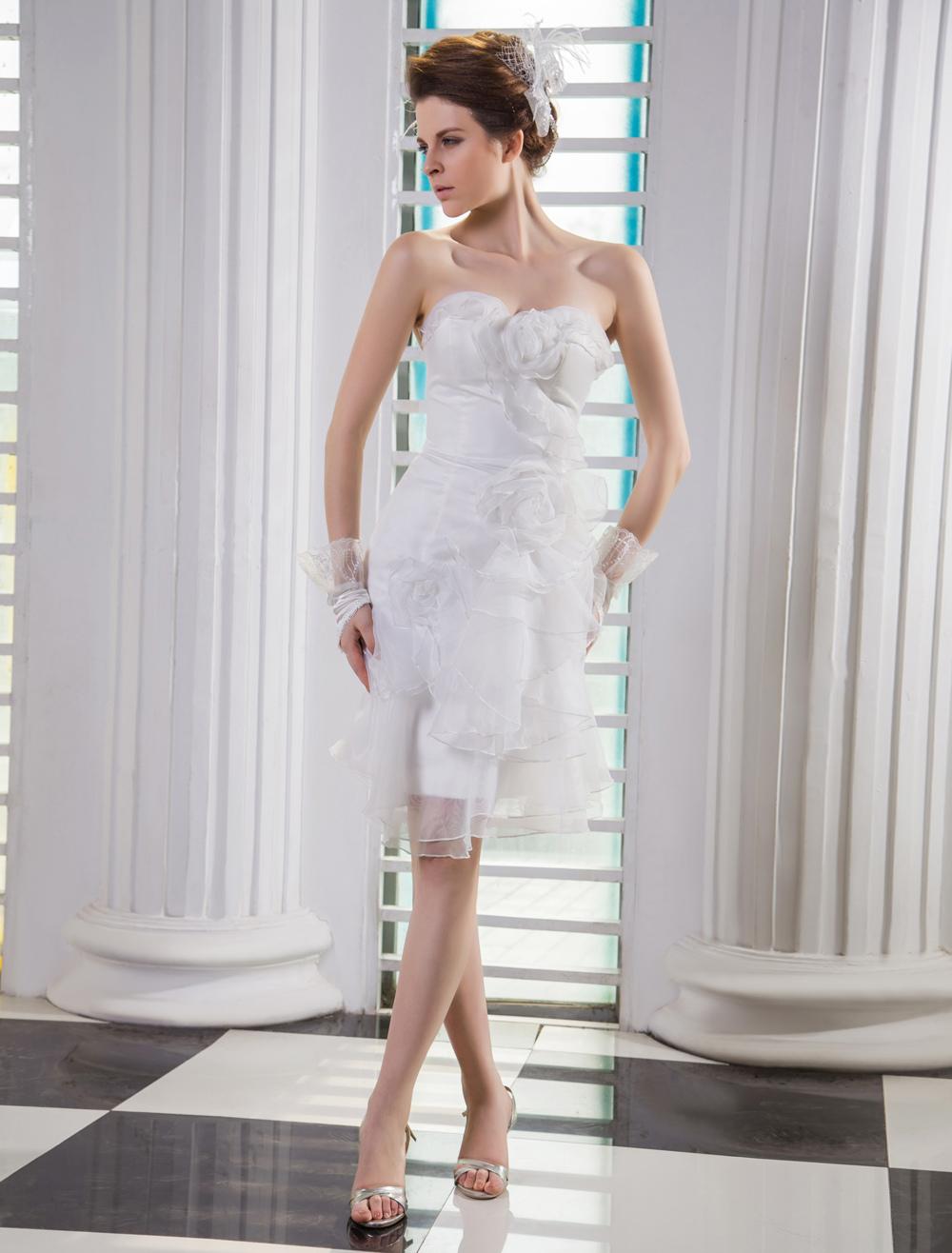 Ivory Sheath Sweetheart Flower Knee-Length Destination Wedding Gown Milanoo