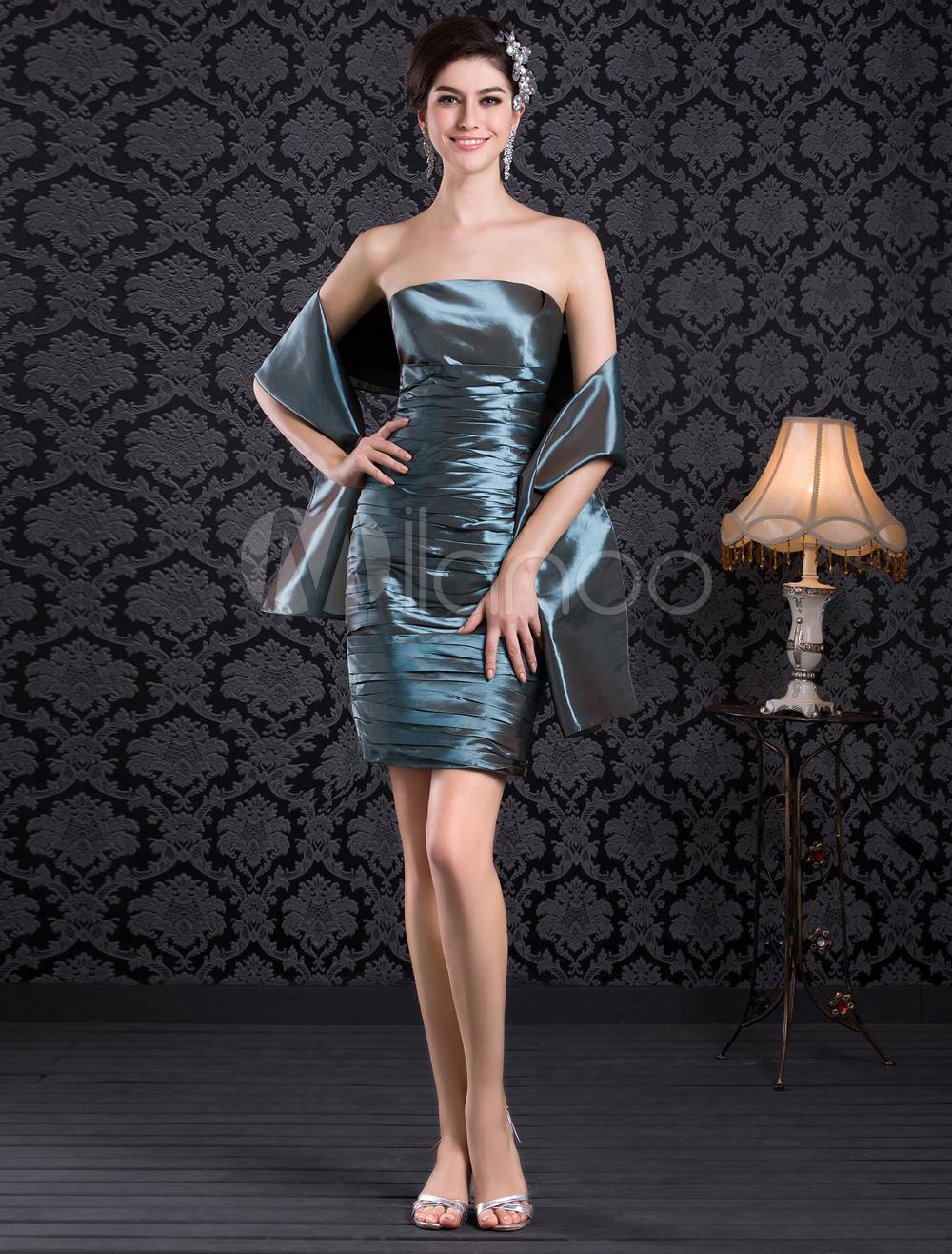 Pleated Strapless Taffeta Knee-Length Fashion Cocktail Dress