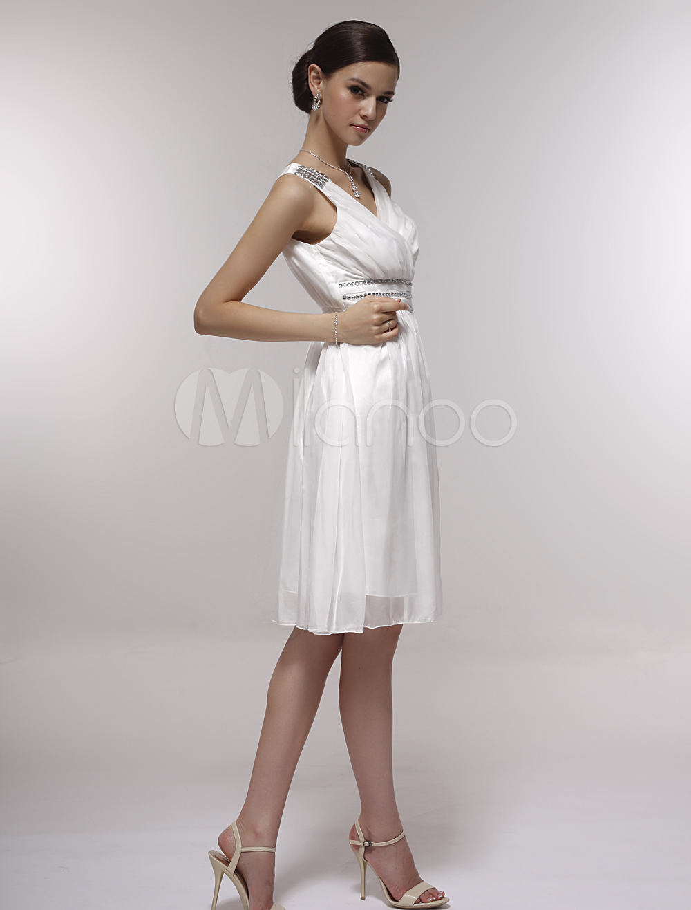 ddaa605864c ... Pretty White Satin Gauze V-neck Knee-length Graduation Dress-No.2 ...