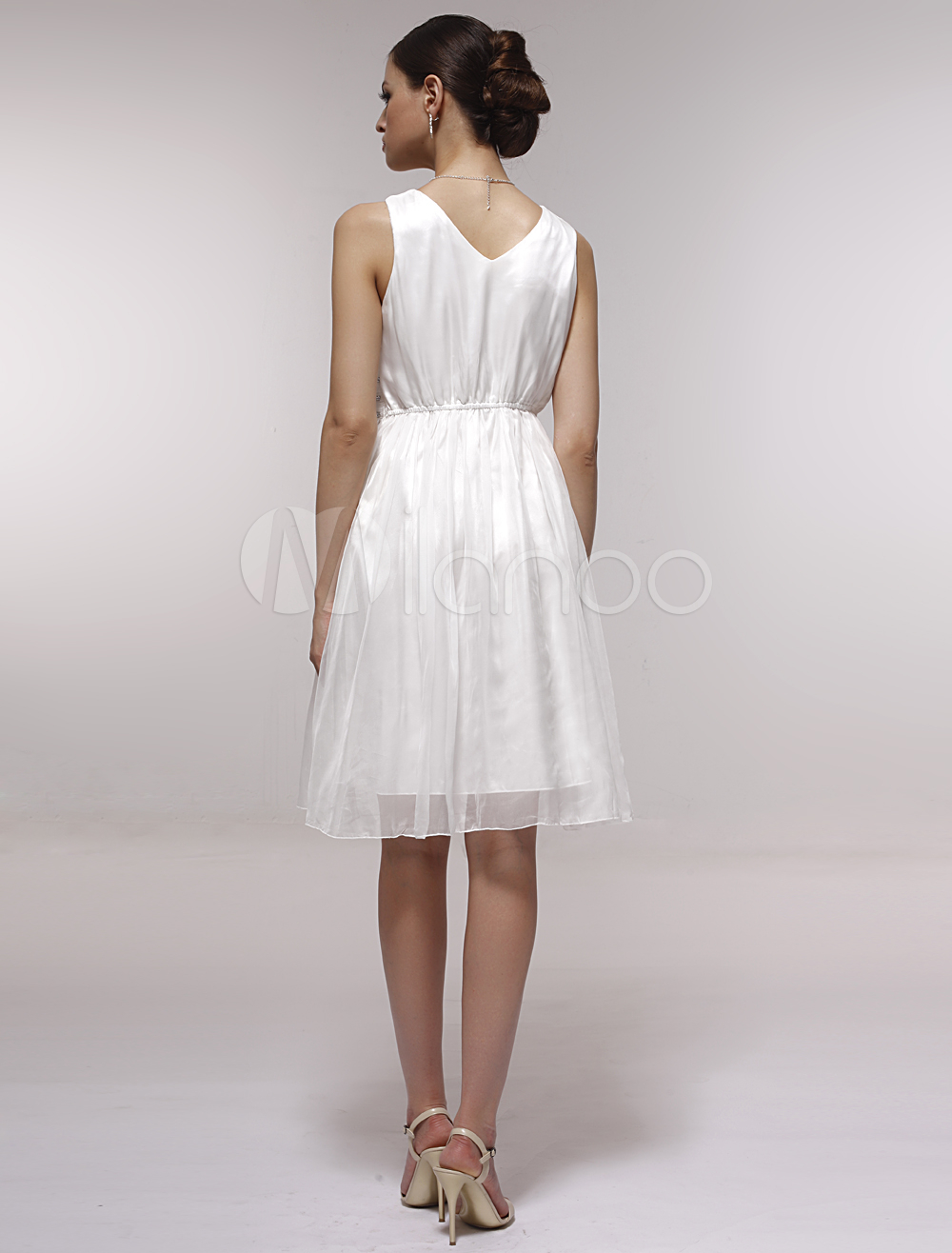 c5db2794725 ... Pretty White Satin Gauze V-neck Knee-length Graduation Dress-No.3 ...