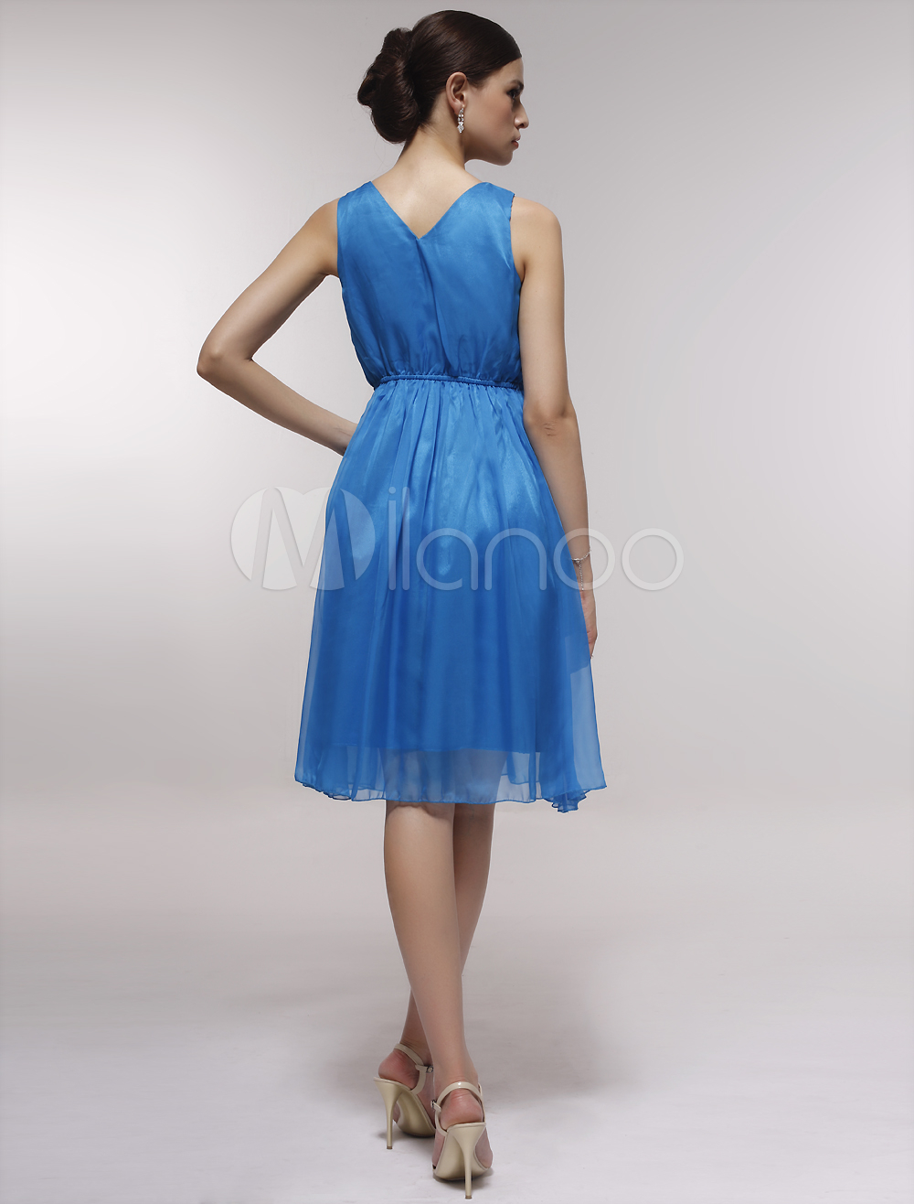 0719a75ac3d ... Pretty White Satin Gauze V-neck Knee-length Graduation Dress-No.9 ...