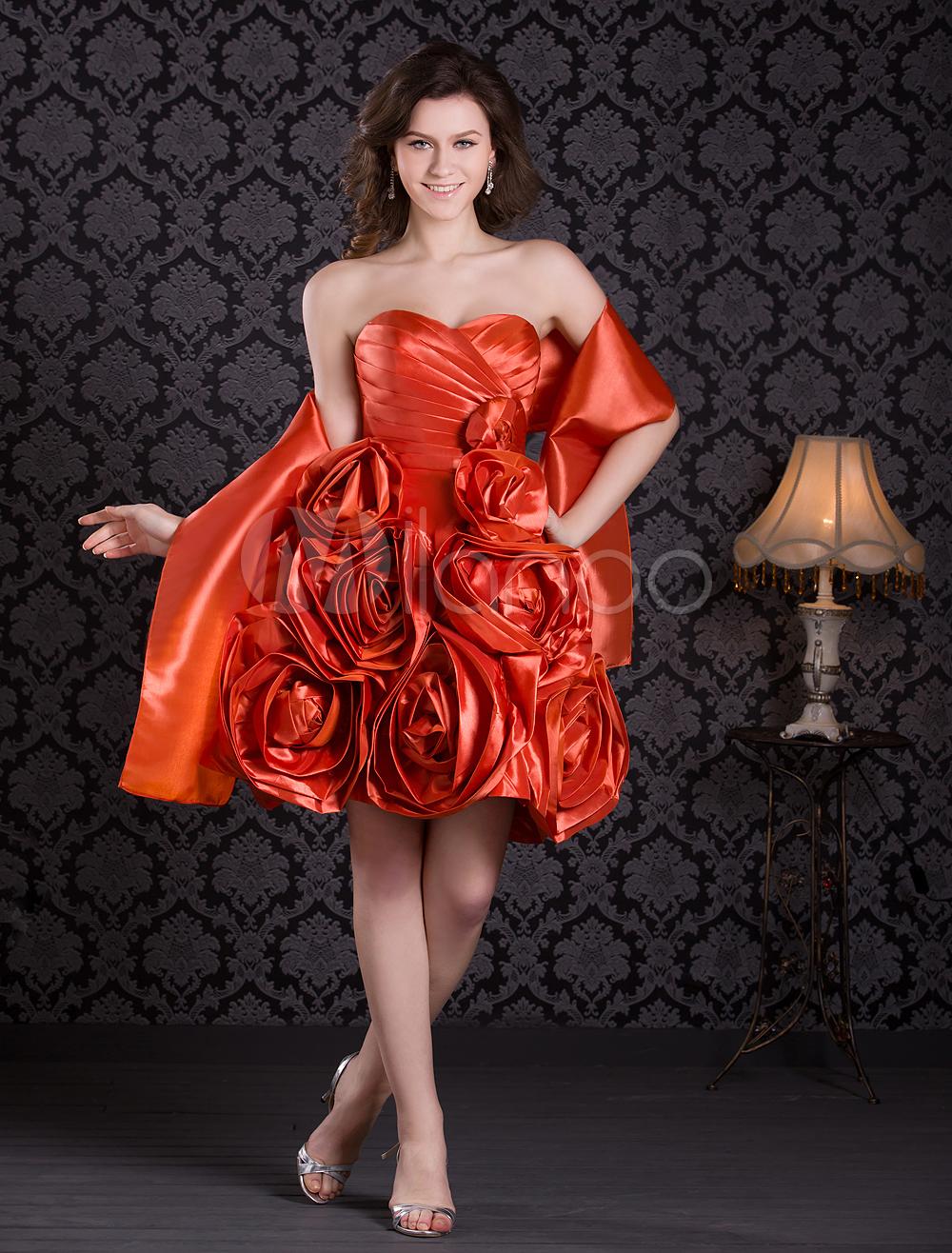 Princess Silhouette Strapless Orange Taffeta Prom Dress with Flower
