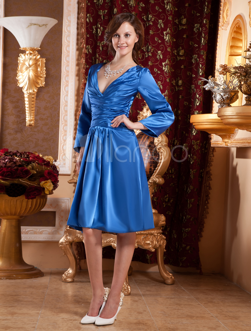 Royalblue deep v neck chiffon kate middleton 39 s engagement for Milanoo abendkleider