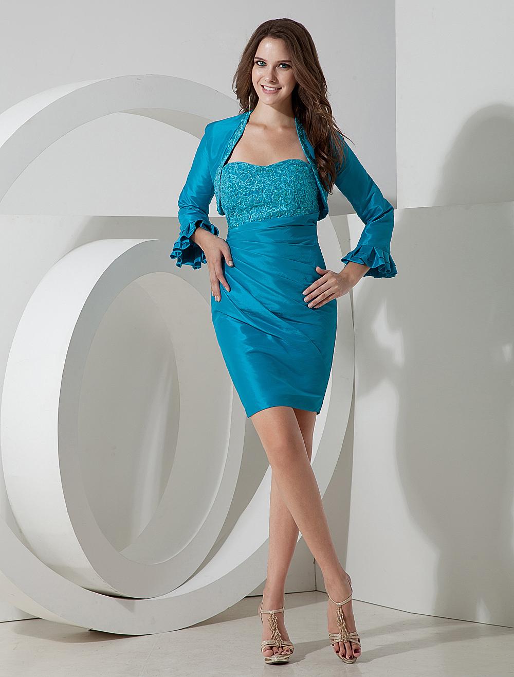 Vestido de coctel azul turquesa