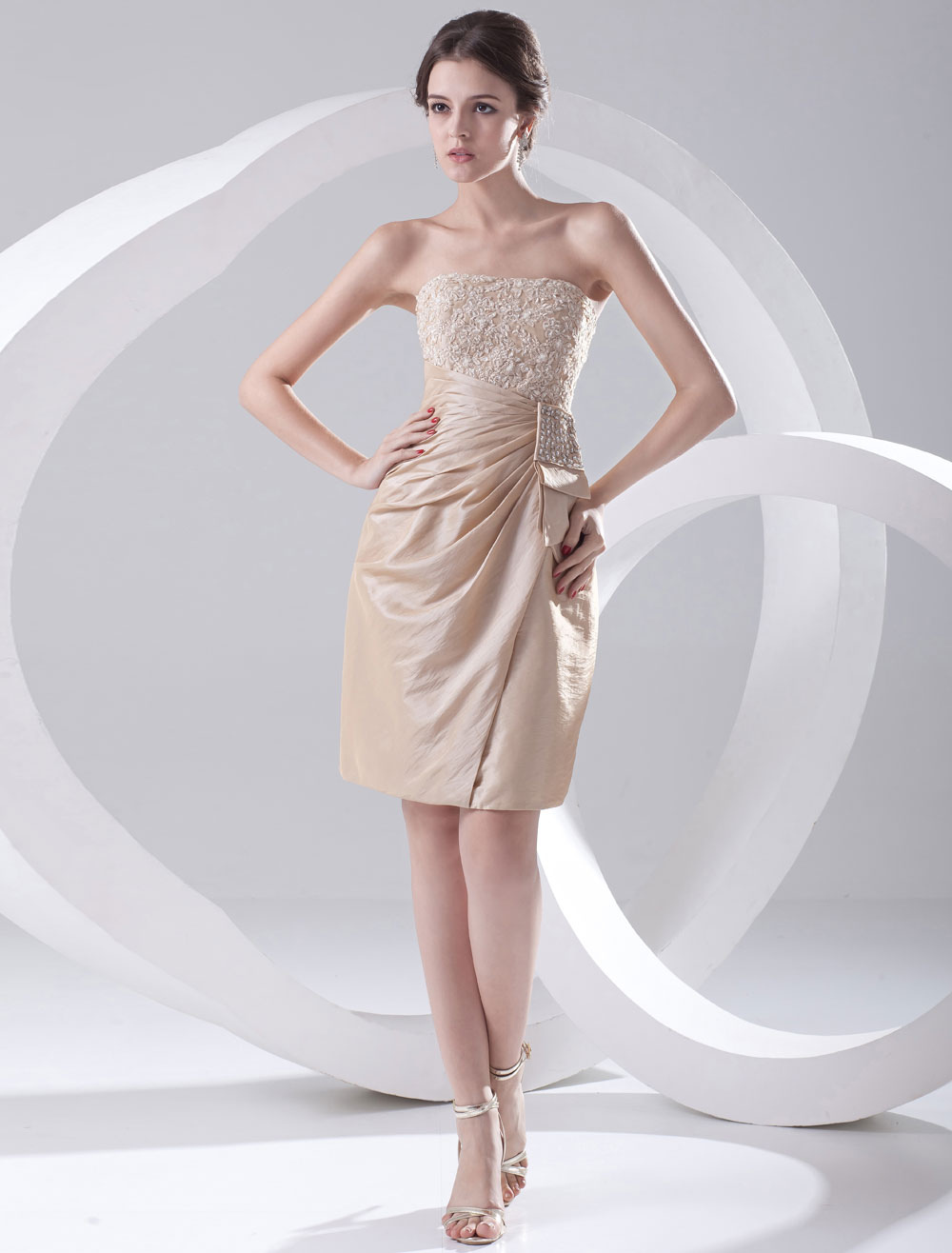 Buy Champagne Cocktail Dress Knee-Length Strapless Sheath Rhinestone Ruched Taffeta Dress for $108.89 in Milanoo store