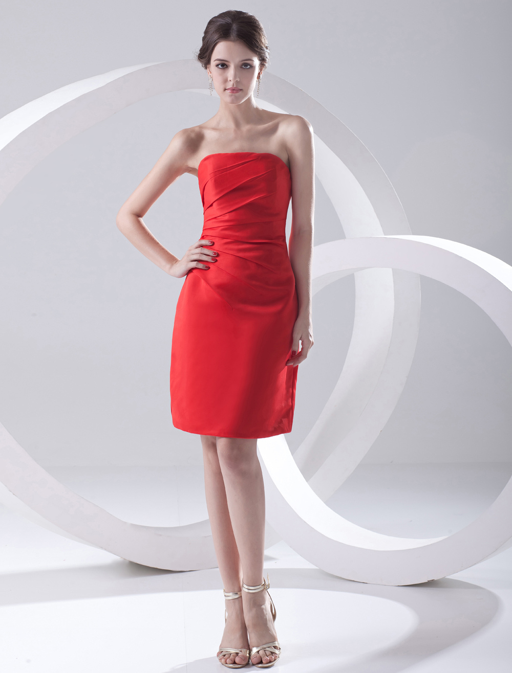 Buy Sheath Red Satin Strapless Knee-Length Women's Cocktail Dress for $76.49 in Milanoo store